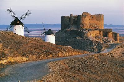 Windmills Along Road of Don Quixote at Consuegra with La Muela Castle in Background