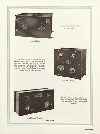 Western Electric Company's Radio Receiving Equipment - a Model Number 20-A Filter