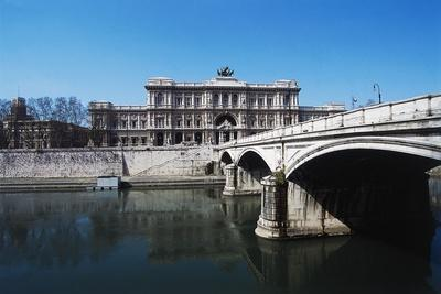Umberto I Bridge over the Tiber River and the Palace of Justice or Palazzaccio