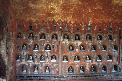 Wood Panel with Niches Containing Statues of Buddha