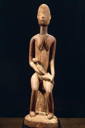 Wood Sculpture Depicting Mother and Child
