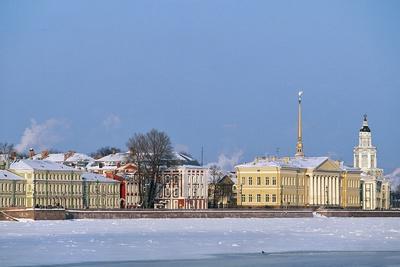 View of Vasilevsky Island on Frozen Neva River