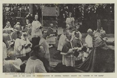 Scene at the Laying the Foundation-Stone by Cardinal Vaughan, Reading the Litanies of the Saints