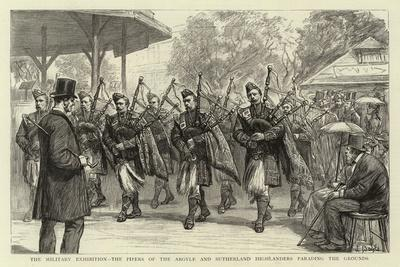 The Military Exhibition, the Pipers of the Argyle and Sutherland Highlanders Parading the Grounds