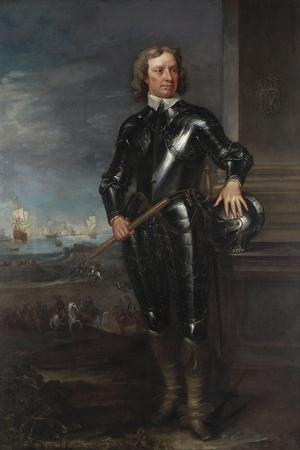 Portrait of Oliver Cromwell (1599-1658) in Armour, a Seascape and Battle Beyond, Late 1650S