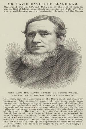 The Late Mr David Davies, of South Wales, Railway Contractor, Colliery and Dock Owner