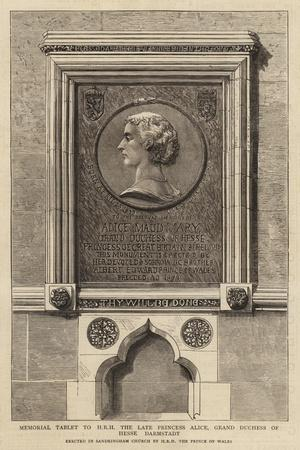 Memorial Tablet to Hrh the Late Princess Alice, Grand Duchess of Hesse Darmstadt