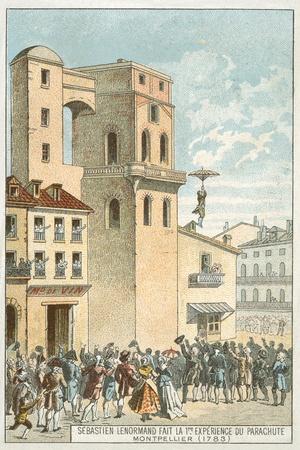 Sebastien Lenormand Making the First Parachute Descent, Montpellier, 1783