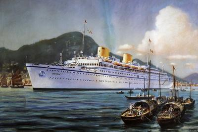 Victoria Motor Ship in Hong Kong Harbor, Pastel on Paper, by Paul Klodic, 20th Century