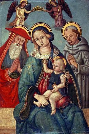 Madonna and Child Being Crowned by Two Angels, with St. Jerome and St. Francis, C.1500