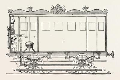 Telegraph Locomotives. Vertical Section of the Telegraph Wagon, 1855.