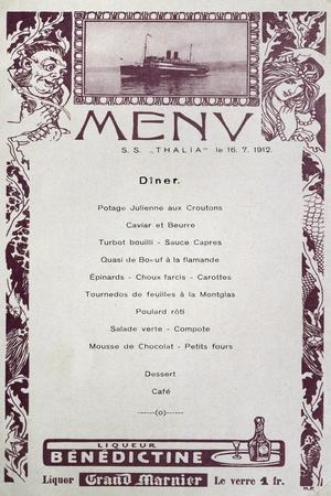 Menu on Board Lloyd Company Ship, Thalia, July 16, 1912, Italy, 20th Century