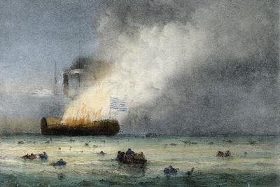 Fire on Steamboat Lexington, Colour Lithograph by Ferdinand Perrot, 19th Century