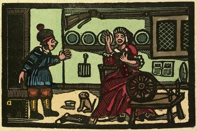 Illustration of English Tales Folk Tales and Ballads. Old English Interior. Woman with Spinning Whe