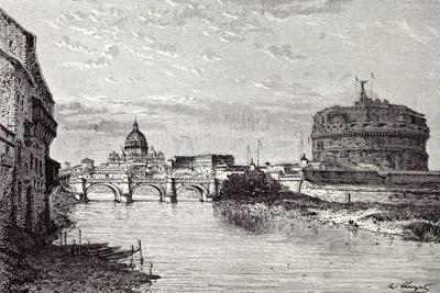 Rome Italy 1875 Mole of Adrian Banks of the Tiber Between Ripetta and the Bridge Od St. Angelo