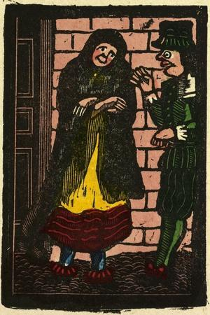 Illustration of English Tales Folk Tales and Ballads. a Woman and a Man