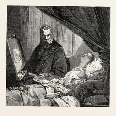 Salon 1855. Tintoretto and His Daughter. Painting by M. Leon Cogniet. 1855