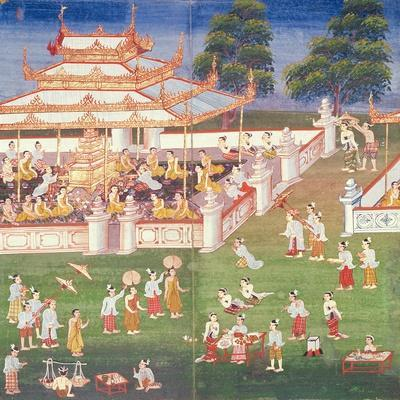 Ma 565 Monks at their Annual Meeting in June in Mandalay, from the Nimi Jataka, 1869