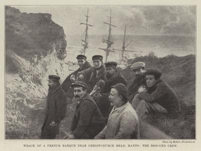 Wreck of a French Barque Near Christchurch Head, Hants, the Rescued Crew