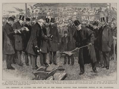 The Ceremony of Cutting the First Sod of the Wirral Railway, Near Hawarden Bridge, by Mr Gladstone
