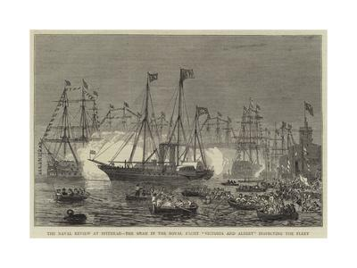 The Naval Review at Spithead, the Shah in the Royal Yacht Victoria and Albert Inspecting the Fleet