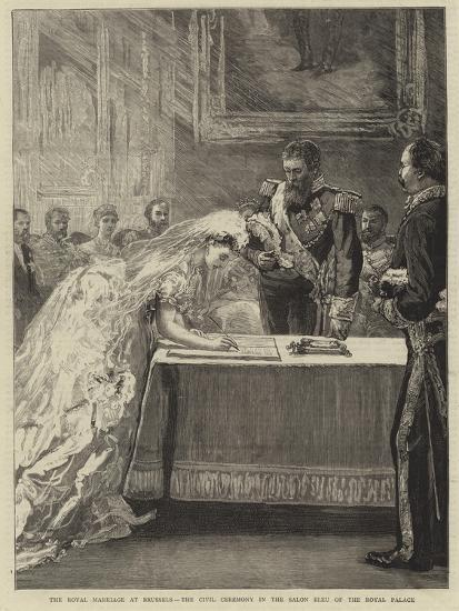 The Royal Marriage at Brussels, the Civil Ceremony in the Salon Bleu ...