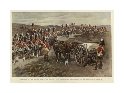 Sketches of the British Army, the Argyll and Sutherland Highlanders on the March on a Field Day