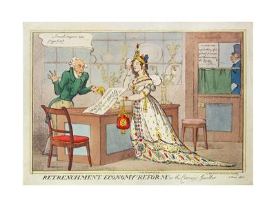 Retrenchment Economy Reform, or the Cunning Jeweller, 1822 (Colour Etching)