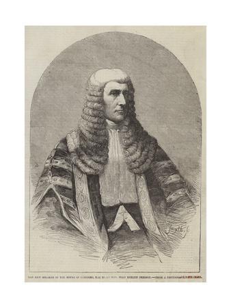 The New Speaker of the House of Commons, the Right Honourable John Evelyn Denison