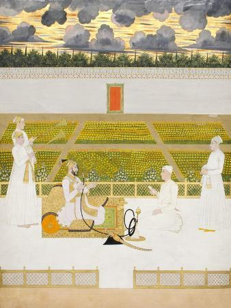 Mir Jaffar, Nawab of Murshidabad, with a Courtier and Attendants, C.1760