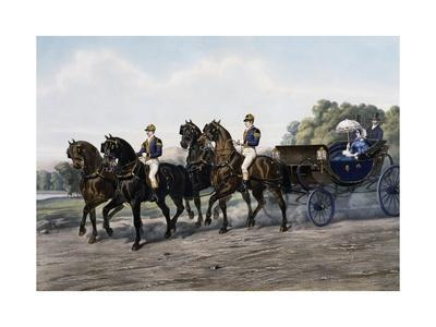 Open Carriage Drawn by Four Horses, 1863, by Guerard, France, 19th Century