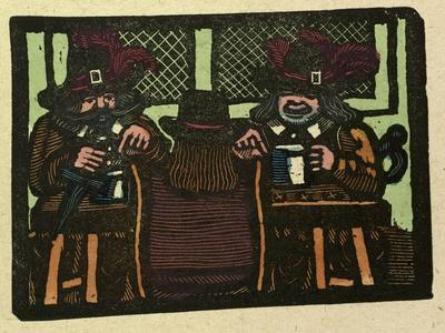 Illustration of English Tales Folk Tales and Ballads. Three People Talking While Having a Drink