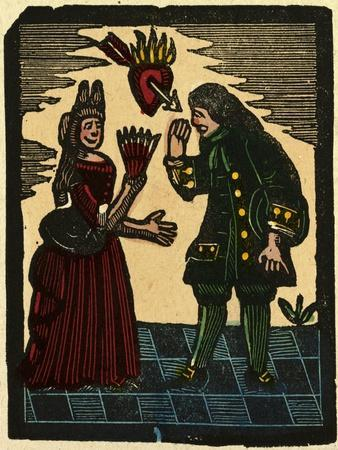 Illustration of English Tales Folk Tales and Ballads. a Woman and a Man with Above Them a Burning H