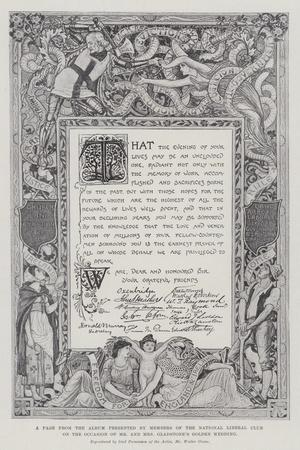 A Page from the Album Presented by Members of the National Liberal Club on the Occasion of Mr and M