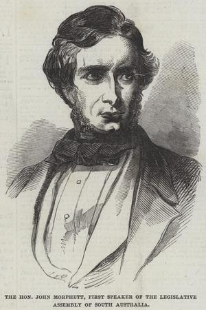 The Honourable John Morphett, First Speaker of the Legislative Assembly of South Australia