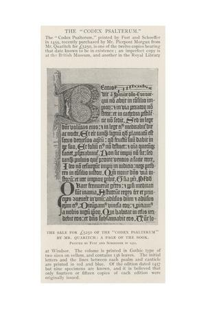 The Sale for £5250 of the Codex Psalterum by Mr Quaritch, a Page of the Book