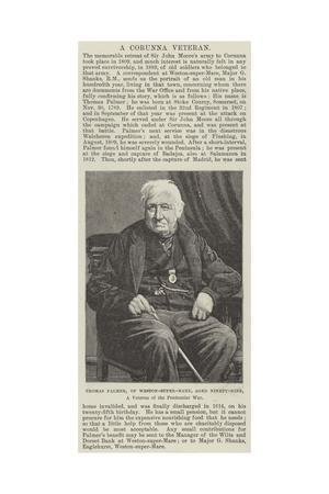 Thomas Palmer, of Weston-Super-Mare, Aged Ninety-Nine, a Veteran of the Peninsular War
