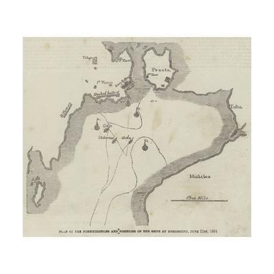 Plan of the Fortifications and Positions of the Ships at Bomarsund, 21 June 1854