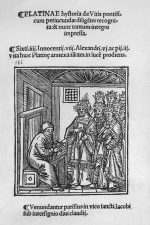 Bartolommeo De' Sacchi (Platina) Writing 'Historia De Vitis Pontificum Romanorum', 1505