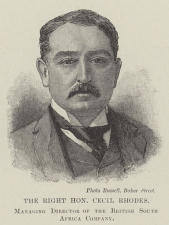 The Right Honourable Cecil Rhodes, Managing Director of the British South Africa Company