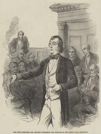 The Bucks Election, Mr Disraeli Addressing the Electors in the County Hall, Aylesbury