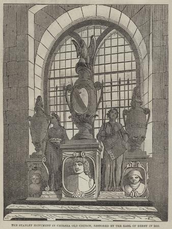 The Stanley Monument in Chelsea Old Church, Restored by the Earl of Derby in 1858
