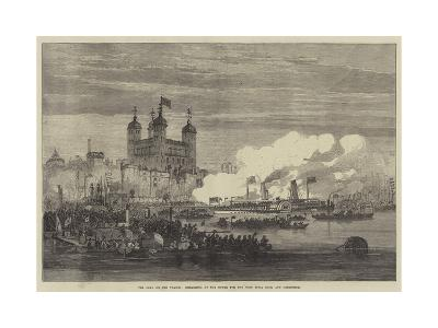 The Shah on the Thames, Embarking at the Tower for the West India Dock and Greenwich
