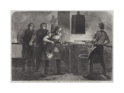 Manufacture of the Armstrong Gun at Woolwich Arsenal Down and Welding the Bars Previous to Coiling
