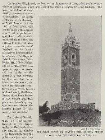 The Cabot Tower on Brandon Hill, Bristol, Opened on 6 September by the Marquis of Dufferin