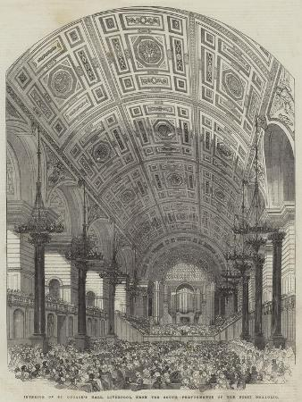 Interior of St George's Hall, Liverpool, from the South, Performance of the First Oratorio