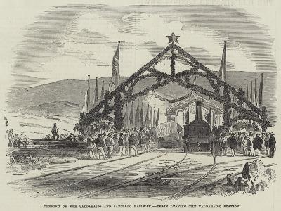 Opening of the Valparaiso and Santiago Railway, Train Leaving the Valparaiso Station