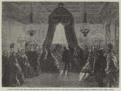 Funeral of the Late King of the Belgians, the Body Lying in State at the Royal Palace at Brussels