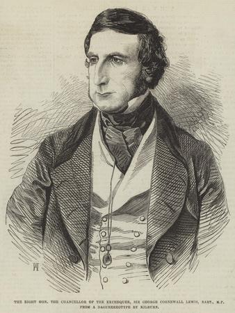 The Right Honourable the Chancellor of the Exchequer, Sir George Cornewall Lewis, Baronet, Mp