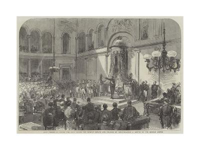 King Leopold II Taking the Oath before the Belgian Senate and Chamber of Deputies